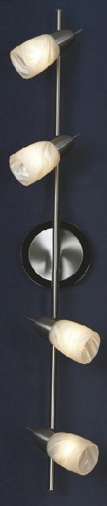 Спот LussoleСпоты<br>Тип: спот,<br>Стиль светильника: модерн,<br>Материал светильника: металл, стекло,<br>Количество ламп: 4,<br>Тип лампы: накаливания,<br>Мощность: 40,<br>Патрон: Е14,<br>Цвет арматуры: никель,<br>Ширина: 130<br>