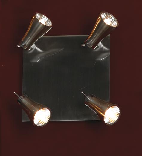 Спот LussoleСпоты<br>Тип: спот,<br>Стиль светильника: модерн,<br>Материал светильника: металл, стекло,<br>Количество ламп: 4,<br>Тип лампы: галогенная,<br>Мощность: 40,<br>Патрон: G9,<br>Цвет арматуры: никель,<br>Ширина: 170<br>