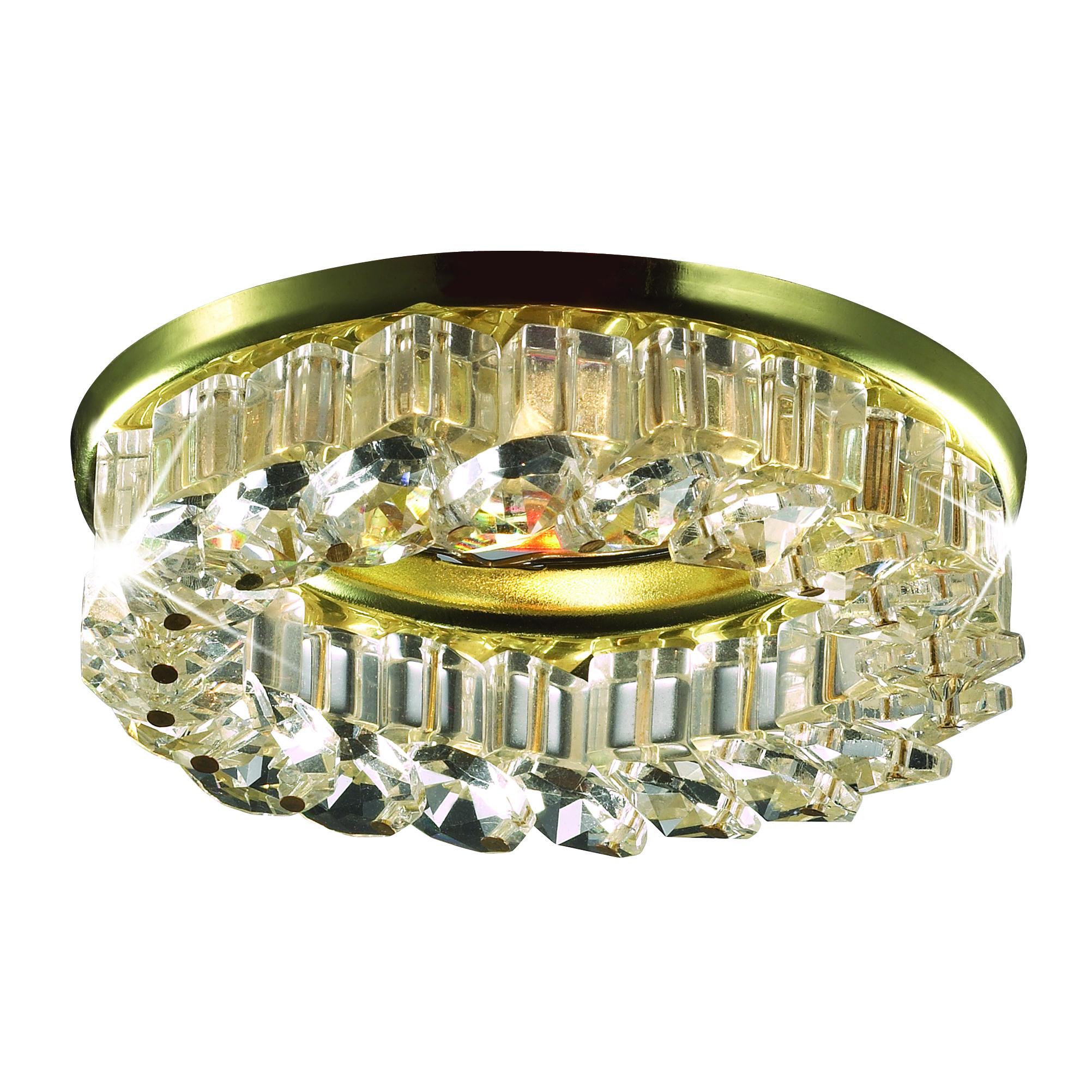 Светильник встраиваемый NovotechСветильники встраиваемые<br>Стиль светильника: модерн,<br>Диаметр: 60,<br>Форма светильника: круг,<br>Материал светильника: металл, хрусталь,<br>Количество ламп: 1,<br>Тип лампы: галогенная,<br>Мощность: 50,<br>Патрон: GX5.3,<br>Цвет арматуры: золото,<br>Назначение светильника: для комнаты<br>