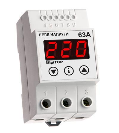 Реле напряжения DigitopАвтоматические выключатели<br>Номинальный ток: 63,<br>Тип выключателя: реле напряжения,<br>Количество полюсов: 1,<br>Степень защиты от пыли и влаги: IP 20,<br>Количество модулей: 3<br>