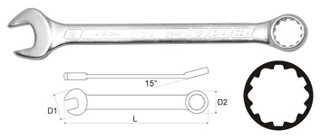 Ключ гаечный комбинированный 27х27 AistКлючи гаечные<br>Тип: комбинированный,<br>Длина (мм): 315,<br>Размер ключа минимальный: 27,<br>Размер ключа максимальный: 27<br>