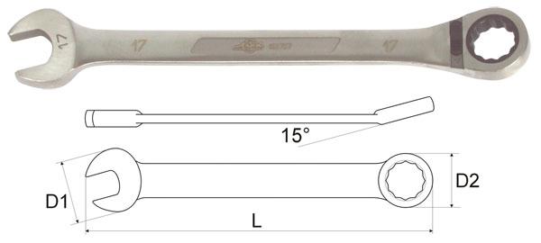 Ключ гаечный комбинированный с трещоткой 15х15 Aist