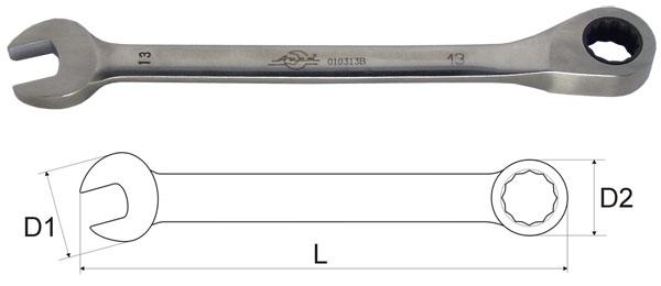 Ключ гаечный комбинированный с трещоткой 8х8 Aist