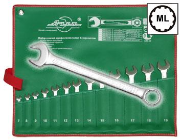 Набор комбинированных гаечных ключей, 13 шт. AistКлючи гаечные<br>Тип: комбинированный, Размер ключа минимальный: 7, Размер ключа максимальный: 19, Набор: есть, Ключей в наборе: 13<br>
