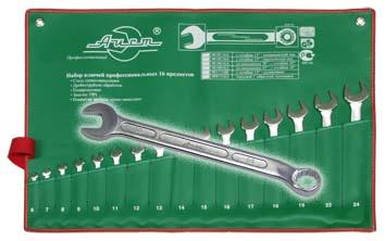 Набор гаечных ключей AistКлючи гаечные<br>Тип: комбинированный,<br>Размер ключа минимальный: 6,<br>Размер ключа максимальный: 24,<br>Набор: есть,<br>Ключей в наборе: 16<br>