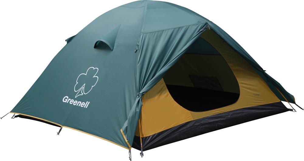 Палатка GreenellПалатки<br>Тип палатки: кемпинговый,<br>Назначение палатки: туризм,<br>Количество мест: 2,<br>Количество комнат: 1,<br>Количество входов: 2,<br>Форма палатки: купол,<br>Сезон: лето,<br>Размеры: 3050х2150х1150,<br>Длина (мм): 3050,<br>Ширина: 2150,<br>Высота: 1150,<br>Тамбур: есть,<br>Количество слоев тента: 1,<br>Родина бренда: Ирландия,<br>Дно палатки: есть,<br>Материал: полиэстер,<br>Цвет: зеленый, жёлтый,<br>Вес нетто: 3.66<br>