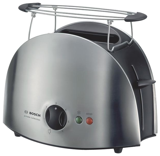 Тостер BoschТостеры<br>Тип: тостер, Мощность: 900, Количество отделений: 2, Количество тостов: 2, Кнопка отмены: есть, Управление: электронное, Регулировка степени обжаривания: есть, Функция размораживания: есть, Функция подогрева: есть, Решетка для подогрева булочек: есть, Поддон для крошек: есть, Материал корпуса: металл<br>