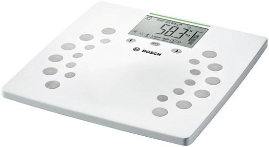 Весы напольные BoschВесы<br>Тип весов: напольные,<br>Тип: электронные,<br>Материал: металл, пластик,<br>Источники питания: CR2032,<br>Максимальная нагрузка: 180,<br>Цвет: белый,<br>Погрешность нивелирования: 0.1 кг,<br>Автоматическое включение/выключение: есть,<br>Единицы измерения: кг,<br>Определение доли воды: есть,<br>Определение доли жировой ткани: есть,<br>Определение доли мышечной ткани: есть,<br>Определение доли костной ткани: есть,<br>Объём памяти: 10 пользователей<br>