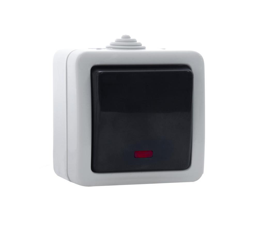 Выключатель SvenЭлектроустановочные изделия<br>Тип изделия: выключатель,<br>Способ монтажа: открытой установки,<br>Цвет: серый,<br>Сила тока: 10,<br>Количество клавиш: 1,<br>Выходная мощность максимально: 2200,<br>Напряжение: 220<br>