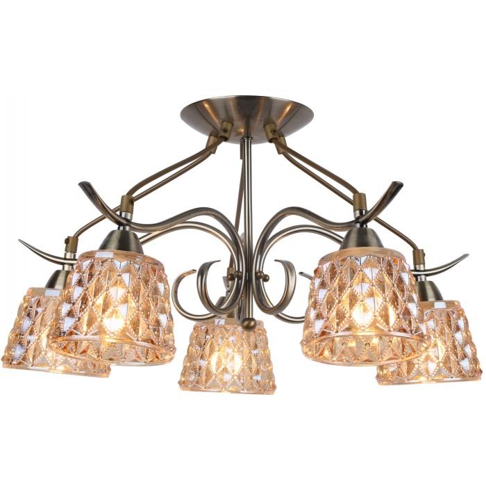 Люстра Arte lampЛюстры<br>Назначение светильника: для гостиной,<br>Стиль светильника: классика,<br>Тип: потолочная,<br>Материал светильника: металл, стекло,<br>Материал плафона: стекло,<br>Материал арматуры: металл,<br>Диаметр: 545,<br>Высота: 310,<br>Количество ламп: 5,<br>Тип лампы: накаливания,<br>Мощность: 60,<br>Патрон: Е14,<br>Цвет арматуры: бронза,<br>Коллекция: gemma 6185<br>