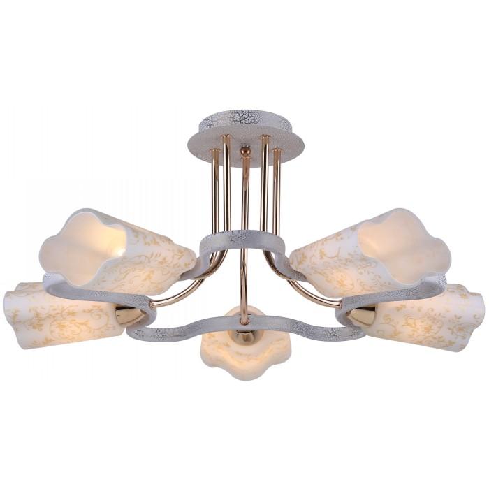 Люстра Arte lampЛюстры<br>Назначение светильника: для гостиной,<br>Стиль светильника: классика,<br>Тип: потолочная,<br>Материал светильника: металл, стекло,<br>Материал плафона: стекло,<br>Материал арматуры: металл,<br>Диаметр: 570,<br>Высота: 260,<br>Количество ламп: 5,<br>Тип лампы: накаливания,<br>Мощность: 60,<br>Патрон: Е14,<br>Цвет арматуры: белый<br>