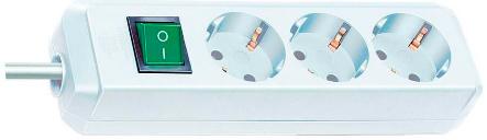 Удлинитель BrennenstuhlУдлинители и сетевые фильтры<br>Количество гнезд: 3,<br>Заземление: есть,<br>Тип удлинителя: удлинитель,<br>Марка кабеля: H05VV-F,<br>Число / сечение жил: 3x1.5,<br>Длина (м): 3,<br>Выключатель: есть,<br>Цвет: белый,<br>Шторки: нет,<br>Наличие катушки: нет,<br>USB порт: нет,<br>Сила тока: 16,<br>Автоматическое сматывание кабеля: нет,<br>Степень защиты от пыли и влаги: IP 20<br>