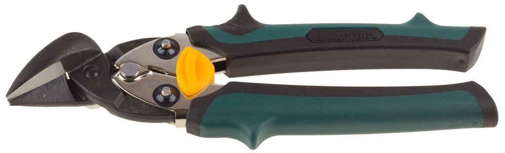 Ножницы KraftoolНожницы ручные<br>Тип: правые,<br>Длина (мм): 180,<br>Назначение: металл,<br>Прорезиненные рукоятки: есть,<br>Материал губок: CrMo,<br>Материал рукояток: ПВХ<br>