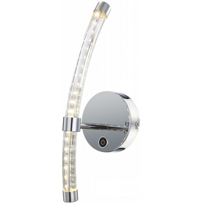 Бра GloboНастенные светильники и бра<br>Тип: настенный,<br>Назначение светильника: для комнаты,<br>Стиль светильника: современный,<br>Материал светильника: металл, стекло,<br>Тип лампы: светодиодная,<br>Количество ламп: 1,<br>Мощность: 7,<br>Патрон: LED,<br>Цвет арматуры: серебристый,<br>Длина (мм): 145,<br>Ширина: 120,<br>Высота: 370<br>