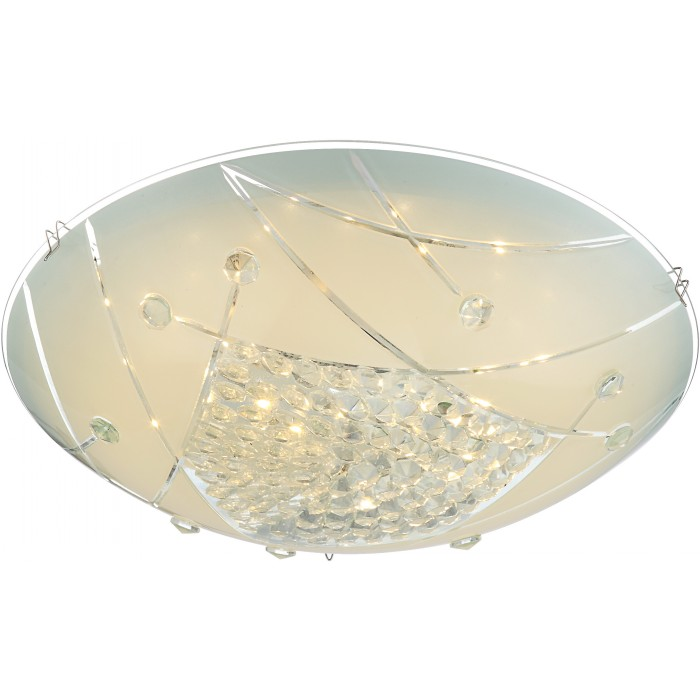 Люстра GloboЛюстры<br>Назначение светильника: для комнаты,<br>Стиль светильника: модерн,<br>Тип: потолочная,<br>Материал светильника: металл, стекло,<br>Материал арматуры: металл,<br>Диаметр: 300,<br>Высота: 100,<br>Количество ламп: 1,<br>Тип лампы: галогенная,<br>Мощность: 12,<br>Патрон: LED,<br>Цвет арматуры: серебро<br>
