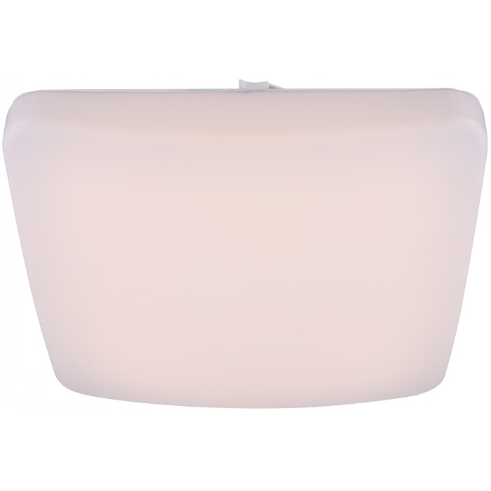 Светильник настенно-потолочный GloboСветильники настенно-потолочные<br>Мощность: 12,<br>Количество ламп: 1,<br>Назначение светильника: для комнаты,<br>Стиль светильника: современный,<br>Материал светильника: металл, пластик,<br>Тип лампы: светодиодная,<br>Длина (мм): 270,<br>Ширина: 270,<br>Высота: 105,<br>Патрон: LED,<br>Цвет арматуры: белый,<br>Вес нетто: 0.8<br>