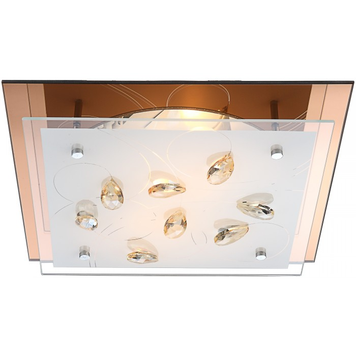 Светильник настенно-потолочный GloboСветильники настенно-потолочные<br>Мощность: 40,<br>Количество ламп: 2,<br>Назначение светильника: для комнаты,<br>Стиль светильника: современный,<br>Материал светильника: металл, стекло, хрусталь,<br>Тип лампы: накаливания,<br>Длина (мм): 335,<br>Ширина: 335,<br>Высота: 85,<br>Патрон: Е27,<br>Цвет арматуры: хром,<br>Вес нетто: 1.7<br>