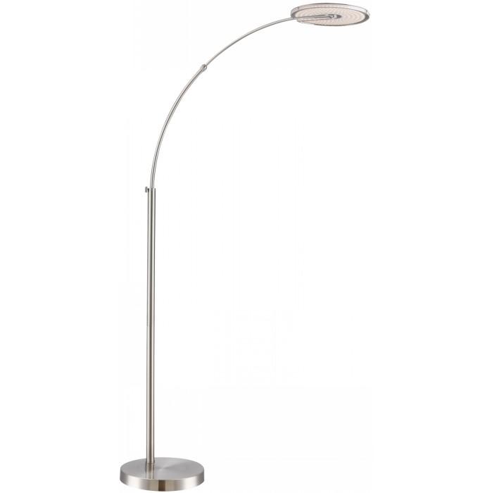 Торшер GloboТоршеры<br>Стиль светильника: хай-тек,<br>Назначение светильника: для комнаты,<br>Материал светильника: металл, пластик,<br>Длина (мм): 120,<br>Ширина: 315,<br>Высота: 2100,<br>Количество ламп: 1,<br>Тип лампы: светодиодная,<br>Мощность: 18,<br>Патрон: LED,<br>Цвет арматуры: матовый никель<br>
