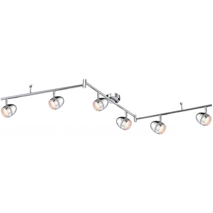 Спот GloboСпоты<br>Тип: спот, Стиль светильника: хай-тек, Материал светильника: металл, пластик, Количество ламп: 6, Тип лампы: светодиодная, Мощность: 18, Патрон: LED, Цвет арматуры: хром, Ширина: 85, Длина (мм): 1500, Высота: 180, Коллекция: manjola<br>