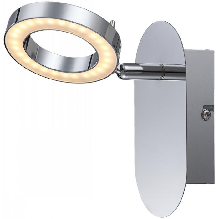 Спот GloboСпоты<br>Тип: спот,<br>Стиль светильника: хай-тек,<br>Материал светильника: металл, пластик,<br>Количество ламп: 1,<br>Тип лампы: светодиодная,<br>Мощность: 5,<br>Патрон: GU10,<br>Цвет арматуры: хром,<br>Ширина: 80,<br>Длина (мм): 80,<br>Высота: 150<br>