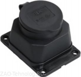 Розетка кабельная IekСиловые разъемы<br>Тип изделия: розетка,<br>Напряжение: 220,<br>Способ монтажа: стационарная,<br>Сила тока: 16,<br>Количество контактов: 3,<br>Заземление: есть,<br>Степень защиты от пыли и влаги: IP 44,<br>Цвет: черный<br>