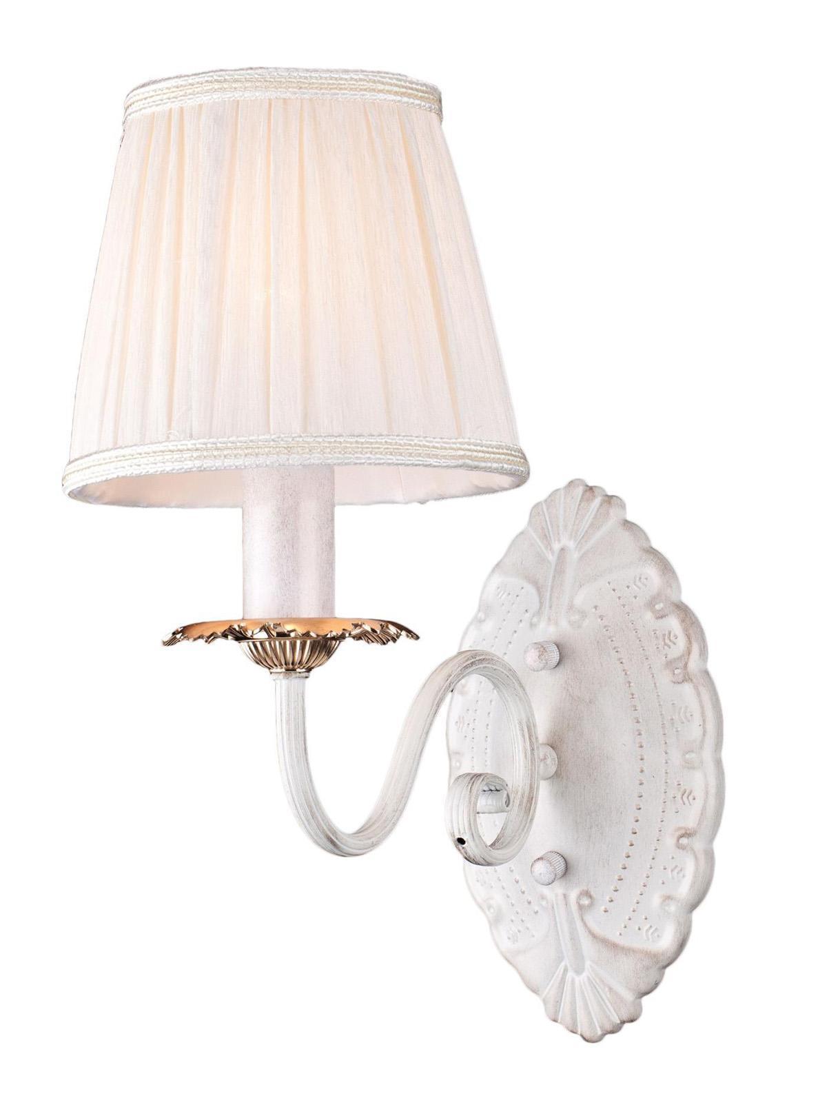 Бра Arte lampНастенные светильники и бра<br>Тип: бра,<br>Назначение светильника: для комнаты,<br>Стиль светильника: модерн,<br>Материал светильника: металл, ткань,<br>Тип лампы: накаливания,<br>Количество ламп: 1,<br>Мощность: 60,<br>Патрон: Е14,<br>Цвет арматуры: белый,<br>Ширина: 150,<br>Высота: 300,<br>Удаление от стены: 280<br>