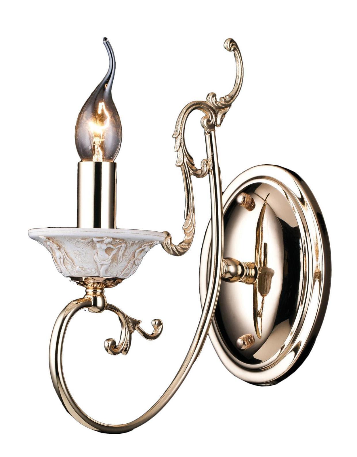 Бра Arte lampНастенные светильники и бра<br>Тип: бра,<br>Назначение светильника: для комнаты,<br>Стиль светильника: классика,<br>Материал светильника: металл,<br>Тип лампы: накаливания,<br>Количество ламп: 1,<br>Мощность: 60,<br>Патрон: Е14,<br>Цвет арматуры: золото,<br>Ширина: 100,<br>Высота: 310,<br>Удаление от стены: 260<br>