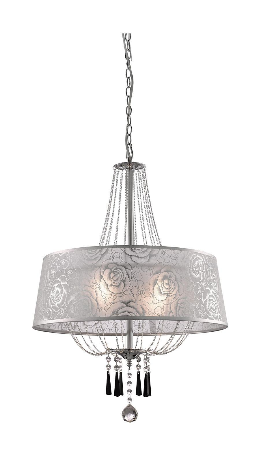 Люстра Arte lampЛюстры<br>Назначение светильника: для гостиной,<br>Стиль светильника: модерн,<br>Тип: подвесная,<br>Материал светильника: металл, ткань,<br>Материал плафона: ткань,<br>Материал арматуры: металл,<br>Диаметр: 500,<br>Высота: 670,<br>Количество ламп: 5,<br>Тип лампы: накаливания,<br>Мощность: 200,<br>Патрон: Е14,<br>Цвет арматуры: серебро<br>