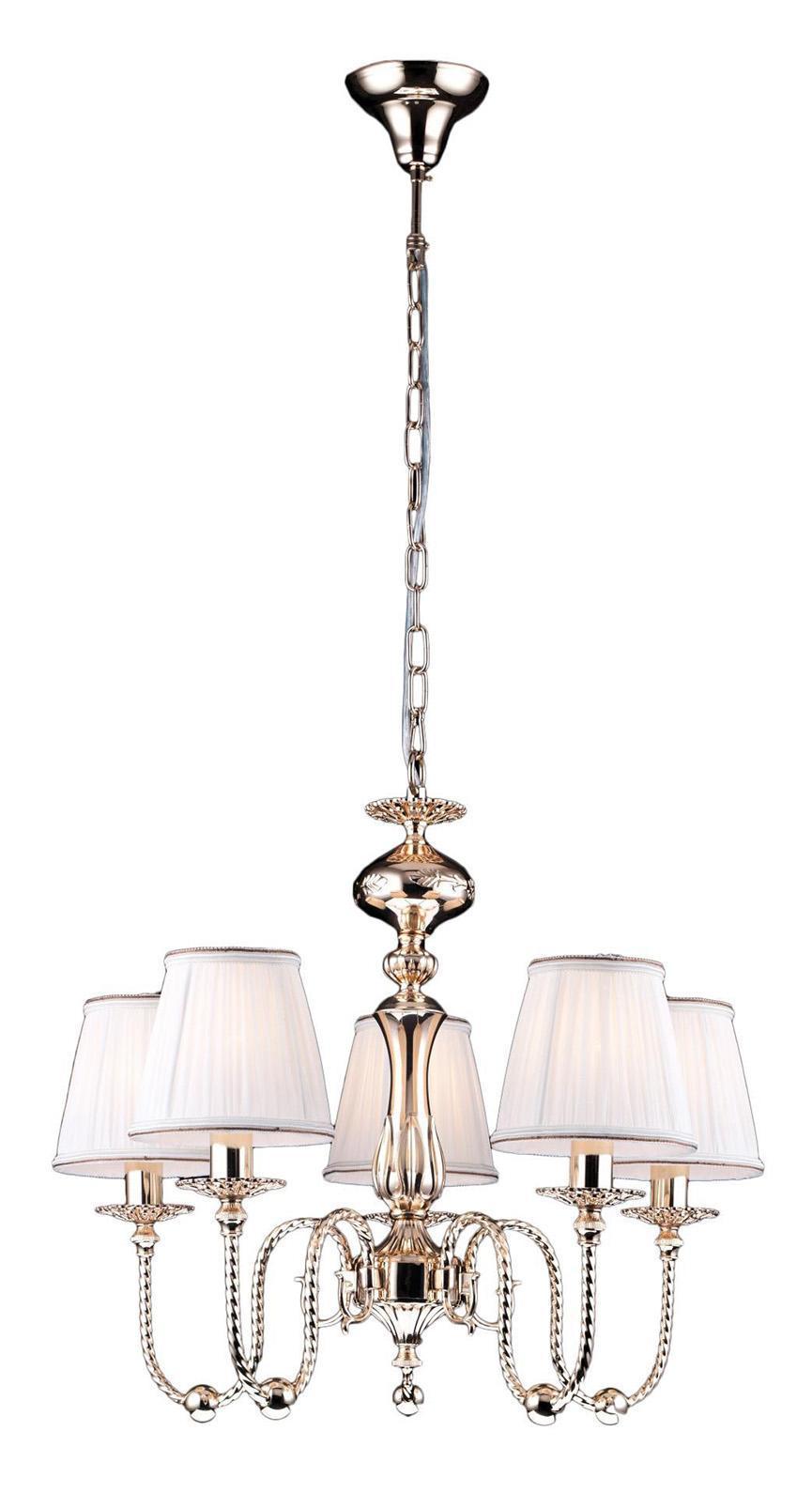Люстра Arte lampЛюстры<br>Назначение светильника: для гостиной,<br>Стиль светильника: классика,<br>Тип: подвесная,<br>Материал светильника: металл, ткань,<br>Материал плафона: ткань,<br>Материал арматуры: металл,<br>Диаметр: 600,<br>Высота: 520,<br>Количество ламп: 5,<br>Тип лампы: накаливания,<br>Мощность: 300,<br>Патрон: Е14,<br>Цвет арматуры: золото<br>