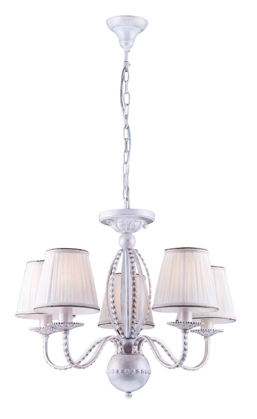 Люстра Arte lampЛюстры<br>Назначение светильника: для гостиной,<br>Стиль светильника: классика,<br>Тип: подвесная,<br>Материал светильника: металл, ткань,<br>Материал плафона: ткань,<br>Материал арматуры: металл,<br>Диаметр: 570,<br>Высота: 490,<br>Количество ламп: 5,<br>Тип лампы: накаливания,<br>Мощность: 300,<br>Патрон: Е14,<br>Цвет арматуры: белый<br>