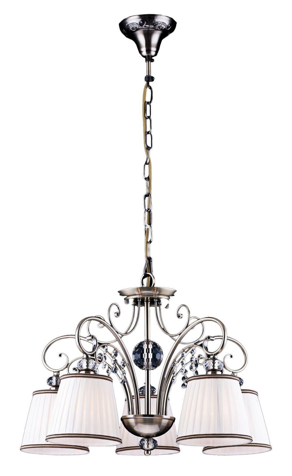 Люстра Arte lampЛюстры<br>Назначение светильника: для гостиной,<br>Стиль светильника: классика,<br>Тип: подвесная,<br>Материал светильника: металл, ткань,<br>Материал плафона: ткань,<br>Материал арматуры: металл,<br>Диаметр: 570,<br>Высота: 400,<br>Количество ламп: 5,<br>Тип лампы: накаливания,<br>Мощность: 300,<br>Патрон: Е14,<br>Цвет арматуры: бронза<br>