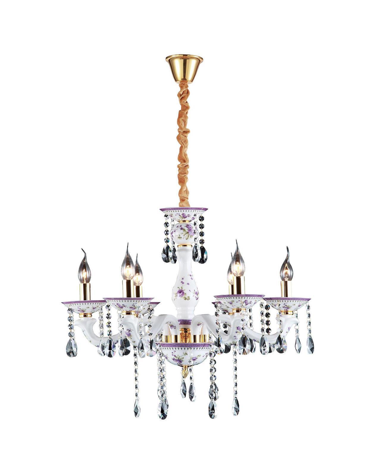 Люстра Arte lampЛюстры<br>Назначение светильника: для гостиной, Стиль светильника: классика, Тип: подвесная, Материал светильника: металл, керамика, Материал арматуры: металл, Диаметр: 680, Высота: 570, Количество ламп: 6, Тип лампы: накаливания, Мощность: 240, Патрон: Е14, Цвет арматуры: белый, Родина бренда: Италия, Коллекция: 6613<br>
