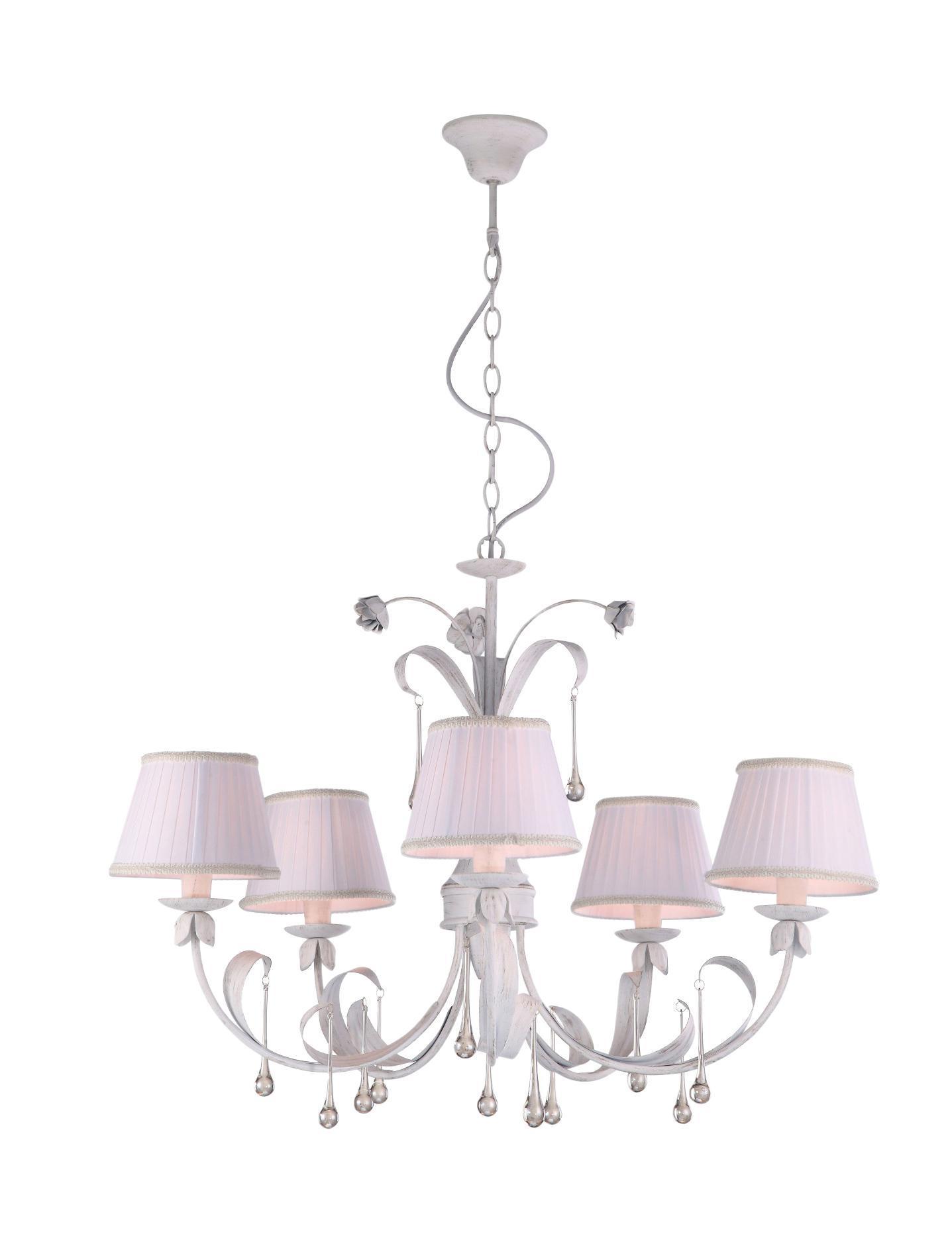 Люстра Arte lampЛюстры<br>Назначение светильника: для гостиной,<br>Стиль светильника: флористика,<br>Тип: подвесная,<br>Материал светильника: металл, стекло,<br>Материал плафона: ткань,<br>Материал арматуры: металл,<br>Диаметр: 840,<br>Высота: 660,<br>Количество ламп: 5,<br>Тип лампы: накаливания,<br>Мощность: 200,<br>Патрон: Е14,<br>Цвет арматуры: белый<br>
