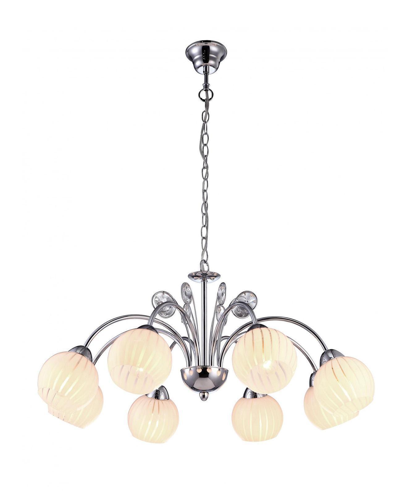 Люстра Arte lampЛюстры<br>Назначение светильника: для гостиной, Стиль светильника: модерн, Тип: подвесная, Материал светильника: металл, стекло, Материал плафона: стекло, Материал арматуры: металл, Диаметр: 740, Высота: 860, Количество ламп: 8, Тип лампы: накаливания, Мощность: 320, Патрон: Е14, Цвет арматуры: серебристый, Родина бренда: Италия, Коллекция: 9524<br>