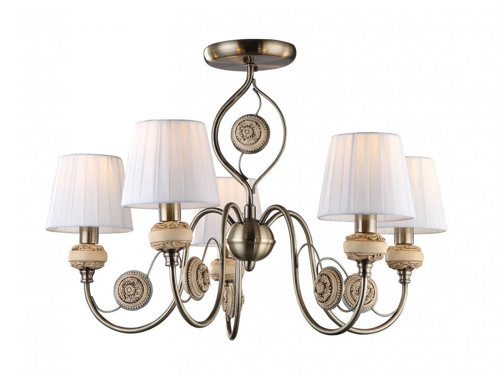Люстра Arte lampЛюстры<br>Назначение светильника: для гостиной, Стиль светильника: модерн, Тип: потолочная, Материал светильника: металл, стекло, Материал плафона: ткань, Материал арматуры: металл, Диаметр: 680, Высота: 440, Количество ламп: 5, Тип лампы: накаливания, Мощность: 200, Патрон: Е14, Цвет арматуры: бронза, Родина бренда: Италия, Коллекция: 9583<br>