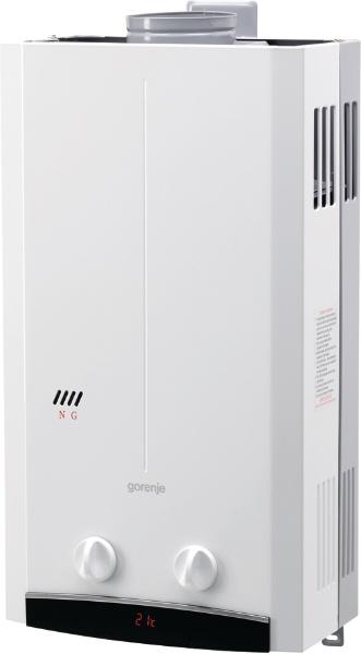 Газовая колонка GorenjeВодонагреватели проточные<br>Тип: газовый,<br>Тип водонагревателя: Закрытый,<br>Мощность: 20000,<br>Напряжение: 3,<br>Производительность по нагреву: 10,<br>Тип установки: настенный,<br>Мин. давление воды: 0.2,<br>Макс. давление воды: 10,<br>Дисплей: LED,<br>Защита от перегрева: есть,<br>Высота: 590,<br>Ширина: 327,<br>Глубина: 180<br>