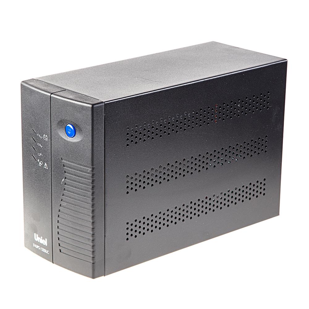 ИБП UnielИБП<br>Тип ИБП: резервный, Мощность полная: 1200, Мощность: 720, Мин. входное напряжение: 160, Макс. входное напряжение: 275, Назначение: для компьютеров, Тип розеток: F, Количество розеток: 2, Тип установки: напольный, Дисплей: нет, Форма выходного сигнала: аппроксимация синусоиды, Возможность замены батареи: есть<br>