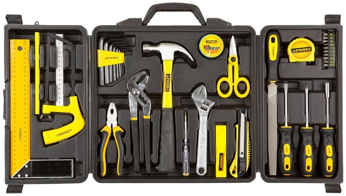 Набор инструментов StayerНаборы инструментов<br>Назначение: универсальный,<br>Количество предметов в наборе: 36,<br>Класс: бытовой,<br>Поставляется в: кейсе,<br>Родина бренда: Китай<br>