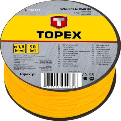 Шнур TopexВспомогательный малярный инструмент<br>Тип: шнур разметочный,<br>Длина (мм): 10000<br>
