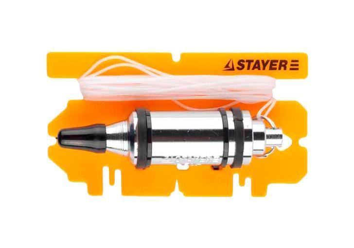 Отвес строительный StayerРазметочный инструмент<br>Тип: отвес,<br>Материал: инструментальная сталь,<br>Цвет: желтый, серебристый, черный,<br>Вес нетто: 0.6<br>