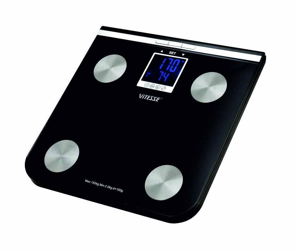 Весы напольные VitesseВесы<br>Тип весов: напольные,<br>Тип: электронные,<br>Материал: пластик,<br>Размер дисплея: 308х308х18,<br>Источники питания: AAA,<br>Максимальная нагрузка: 150,<br>Цвет: черный,<br>Автоматическое включение/выключение: есть,<br>Единицы измерения: кг,<br>Определение доли воды: есть,<br>Определение доли жировой ткани: есть,<br>Определение доли мышечной ткани: есть<br>