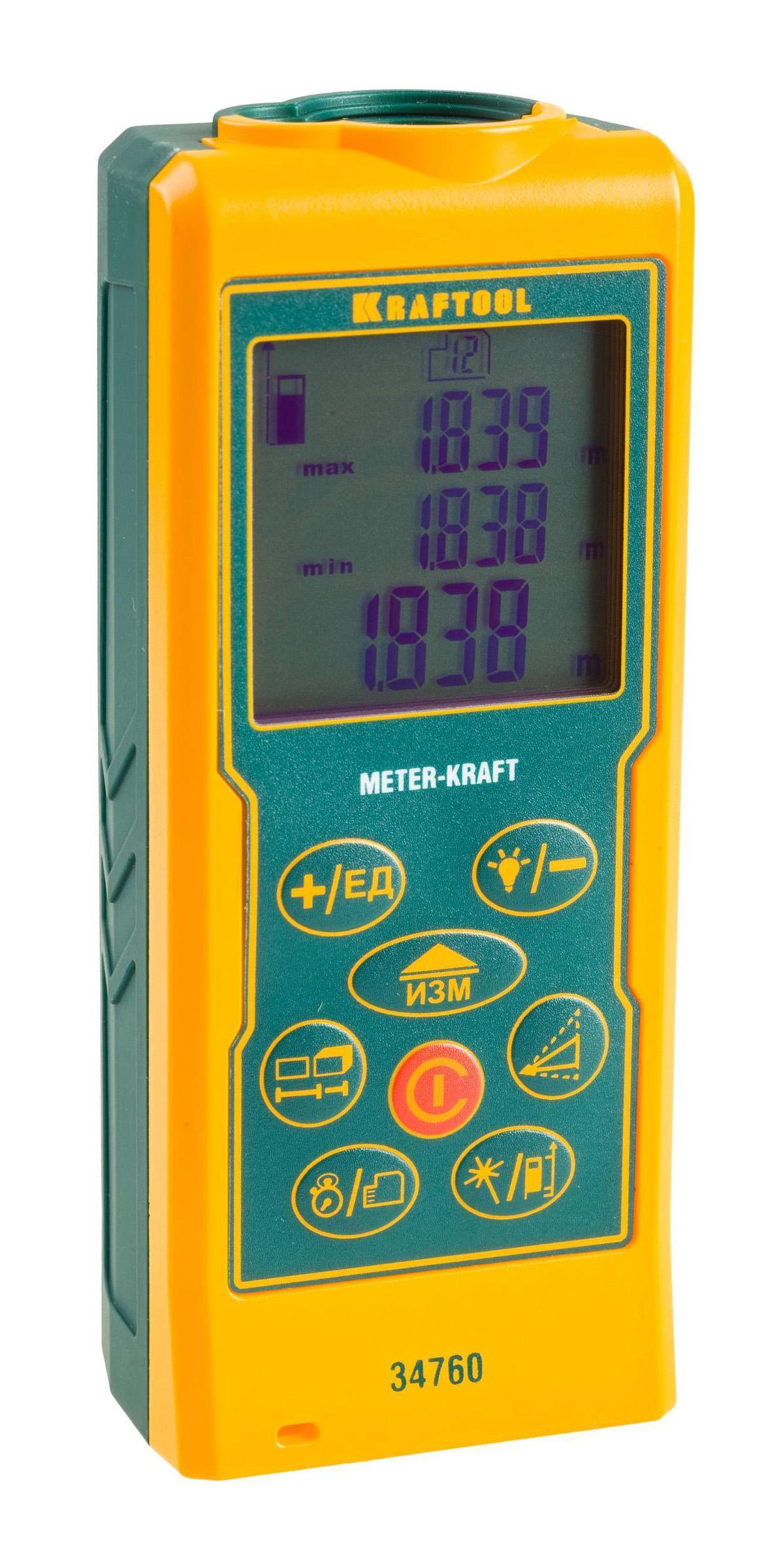 Дальномер KraftoolДальномеры<br>Дальность: 70,<br>Точность: ±1.5мм,<br>Тип: лазерный,<br>Длина волны: 650,<br>Источники питания: AA<br>