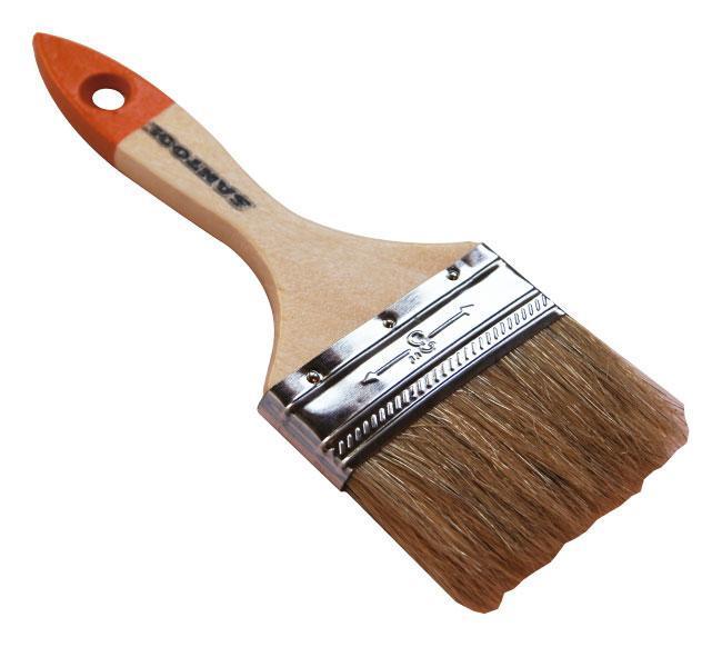 Кисть флейцевая SantoolКисти малярные<br>Тип кисти: плоская,<br>Щетина: натуральная,<br>Материал рукоятки: древесина<br>