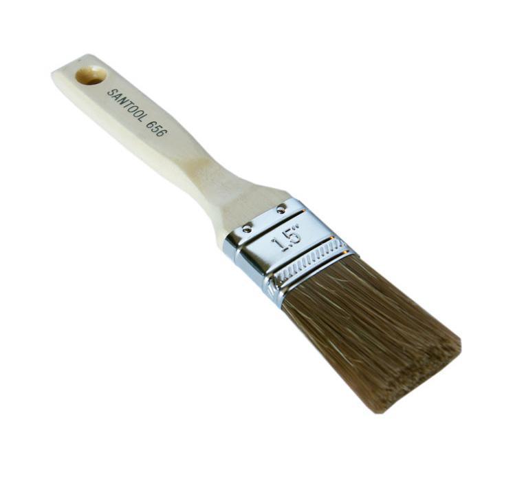 Кисть флейцевая SantoolКисти малярные<br>Тип кисти: плоская,<br>Щетина: смешанная,<br>Материал рукоятки: древесина<br>