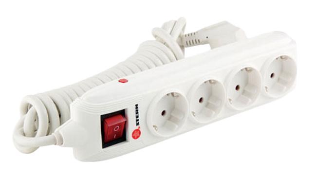 Удлинитель SternУдлинители и сетевые фильтры<br>Количество гнезд: 4,<br>Заземление: есть,<br>Тип удлинителя: сетевой фильтр,<br>Марка кабеля: ПВС,<br>Число / сечение жил: 3x1.5,<br>Длина (м): 4,<br>Выключатель: есть,<br>Цвет: белый,<br>Шторки: нет,<br>Наличие катушки: нет,<br>USB порт: нет,<br>Сила тока: 16,<br>Автоматическое сматывание кабеля: нет,<br>Степень защиты от пыли и влаги: IP 20<br>