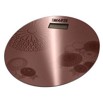 Весы напольные MartaВесы<br>Тип весов: напольные,<br>Тип: электронные,<br>Материал: стекло,<br>Источники питания: CR2032,<br>Максимальная нагрузка: 180,<br>Цвет: коричневый,<br>Автоматическое включение/выключение: есть,<br>Единицы измерения: кг<br>
