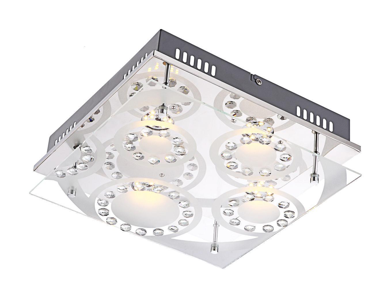 Светильник настенно-потолочный GloboСветильники настенно-потолочные<br>Мощность: 5,<br>Количество ламп: 4,<br>Назначение светильника: для комнаты,<br>Стиль светильника: модерн,<br>Материал светильника: металл, стекло,<br>Тип лампы: светодиодная,<br>Длина (мм): 300,<br>Ширина: 300,<br>Высота: 95,<br>Патрон: LED,<br>Цвет арматуры: хром,<br>Вес нетто: 2.2,<br>Коллекция: tisoy<br>