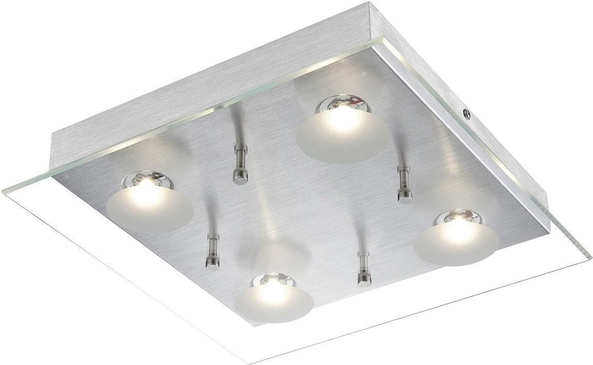 Светильник настенно-потолочный GloboСветильники настенно-потолочные<br>Мощность: 5,<br>Количество ламп: 4,<br>Назначение светильника: для комнаты,<br>Стиль светильника: модерн,<br>Материал светильника: металл, стекло,<br>Тип лампы: светодиодная,<br>Длина (мм): 300,<br>Ширина: 300,<br>Высота: 65,<br>Патрон: LED,<br>Цвет арматуры: алюминий,<br>Вес нетто: 1.6<br>