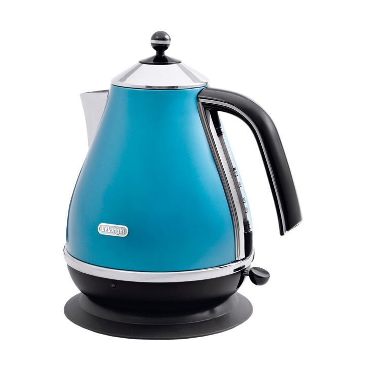 Чайник DelonghiЧайники и термопоты<br>Тип: электрочайник,<br>Мощность: 2000,<br>Объем: 1.7,<br>Цвет: синий<br>черный,<br>Нагревательный элемент: спиральный,<br>Материал: металл,<br>Фильтр: есть<br>