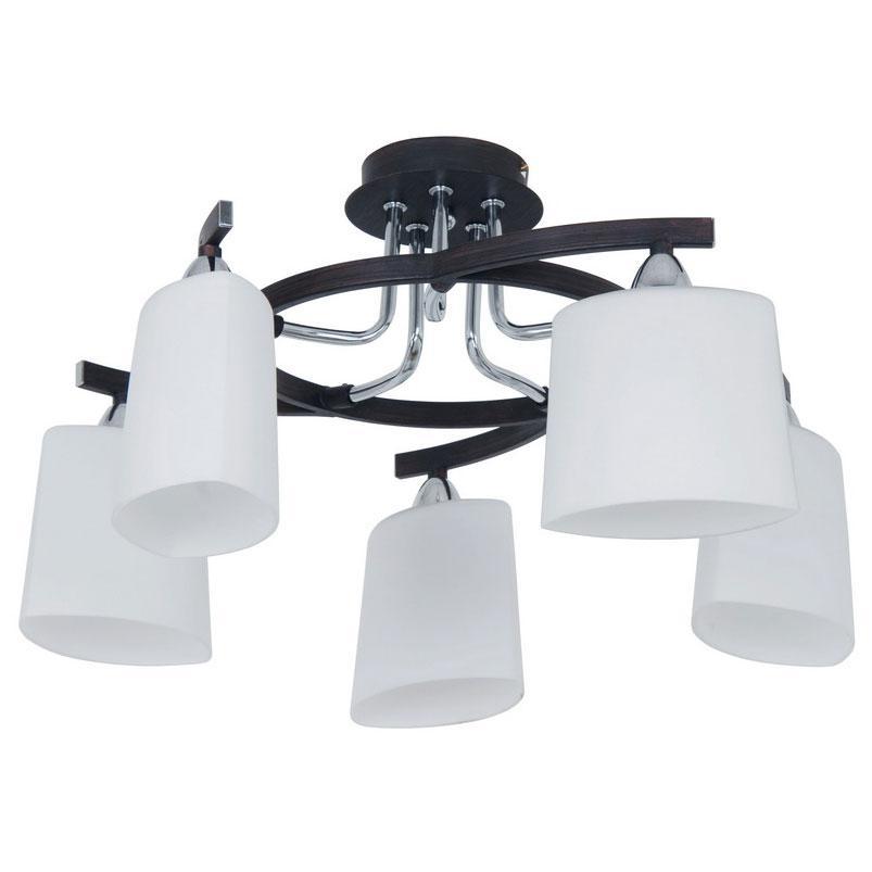 Люстра CitiluxЛюстры<br>Назначение светильника: для гостиной, Стиль светильника: модерн, Тип: потолочная, Материал светильника: металл, дерево, стекло, Материал плафона: стекло, Материал арматуры: металл, Длина (мм): 450, Ширина: 450, Диаметр: 520, Высота: 210, Количество ламп: 5, Тип лампы: накаливания, Мощность: 60, Патрон: Е14, Цвет арматуры: серебристый, Родина бренда: Дания<br>